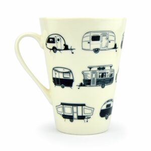 beker porselein zwart wit retro caravans van go collection